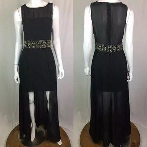 Bebe Beaded Chain Sheer Formal Sheath Train Dress
